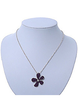 Purple Enamel Flower Pendant With Silver Tone Oval Link Chain - 40cm Length/ 7cm Extension