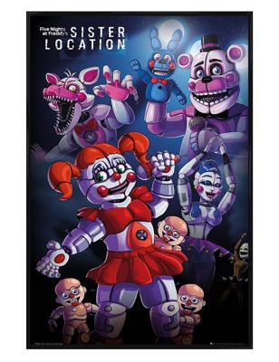 Five Nights At Freddy's Gloss Black Framed Sister Location Poster 61x91.5cm