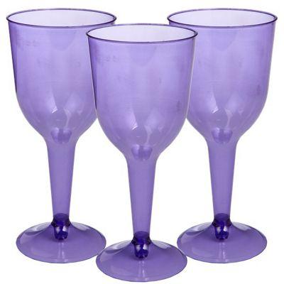 New Purple Plastic Wine Glasses - 295ml - 20 Pack