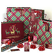 Tartan Christmas Wrapping Paper, Tags and Accessories pack