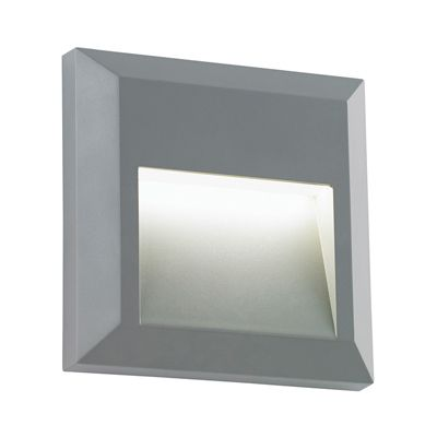Severus Square Indirect 1W Warm White Wall Light Grey Abs Plastic