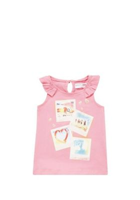 Minoti Holiday Pictures Frill Trim Vest 12-18 mths Pink
