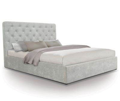 Contemporary Opulent Fabric Ottoman Gas Lift Storage Bed - Double - Light Grey