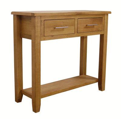 Nebraska - Oak Console Table / 2 Drawers With Shelf