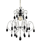 Modern Chandelier Pendant Shade with Black Acrylic Drops and Clear Frame