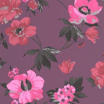 Superfresco Easy Eden Paste The Wall Floral Purple Wallpaper