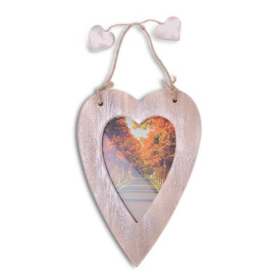 Single Hanging Brown Heart Photo Frame with Jute Hanger
