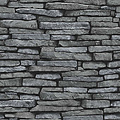 Distinctive Slate Sidewall Silver Wallpaper