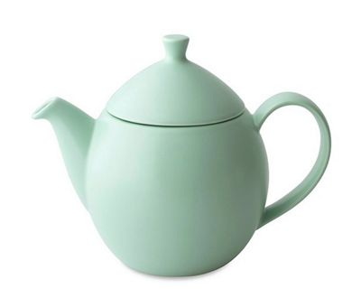 For Life Glazed Ceramic Dew Teapot Tea Pot with Basket Infuser | Minty Aqua | 946ml