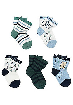 F&F 5 Pair Pack of Woodland Ankle Socks - Blue & Green