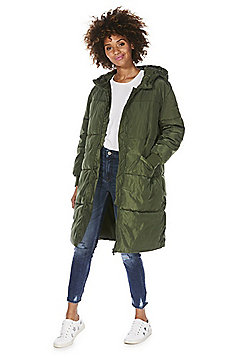 JDY Long Line Puffer Coat - Khaki