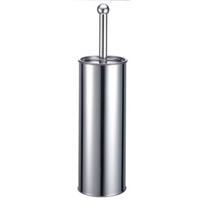 Stainless Steel Silver Chrome Round Toilet Brush & Holder