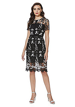 F&F Cherry Blossom Embroidered Lace Dress - Black