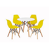 Modern Design Chair Eames Style Dining Chairs (Yellow) with matching table