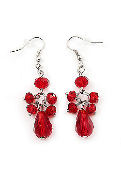 Red Acrylic Bead Drop Earrings (Silver Tone Metal) - 5.5cm Length