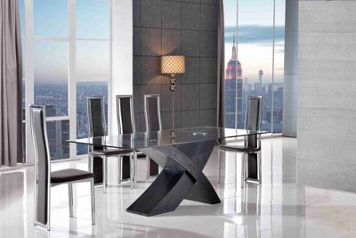 Valencia Glass Black Oak 160 Cm Dining Table 6 Elsa Brown Chairs