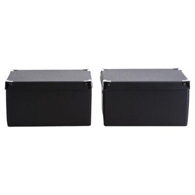 Black Cardboard Storage Box 2pk Small