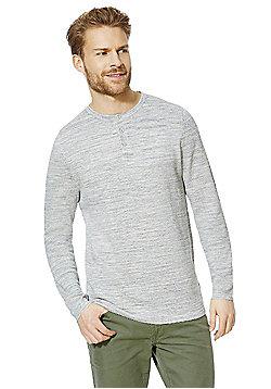 F&F Textured Marl Grandad Collar Jumper - Grey