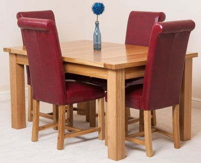 Seattle Solid Oak Extending 150 - 210 cm Dining Table with 4 Red Washington Leather Chairs