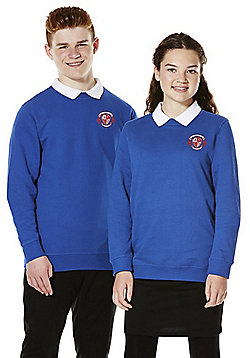 Unisex Embroidered School Sweatshirt with As New Technology - Bright royal blue