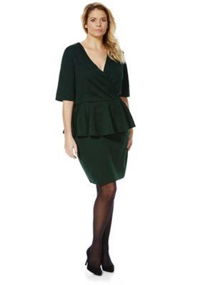 Junarose Textured Floral Plus Size Peplum Dress S Forest green
