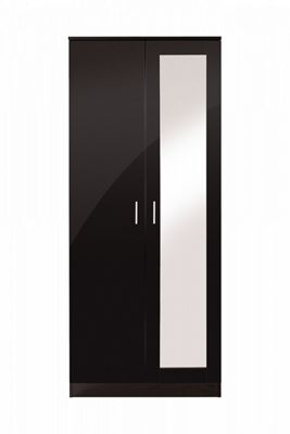 Ottawa 2 Door Wardrobe With Mirror Black