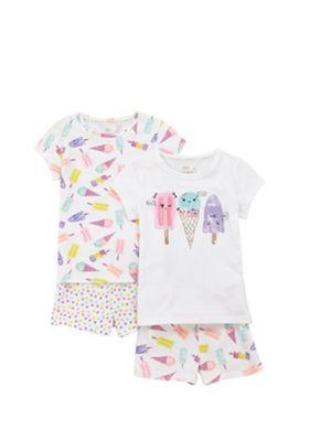 F&F 2 Pack of Mix and Match Ice-Cream Pyjamas White 3-4 years