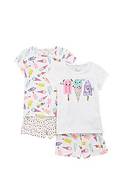 F&F 2 Pack of Mix and Match Ice-Cream Pyjamas - White