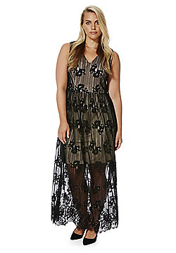 Lovedrobe Floral Lace Plus Size Maxi Dress - Nude & Black