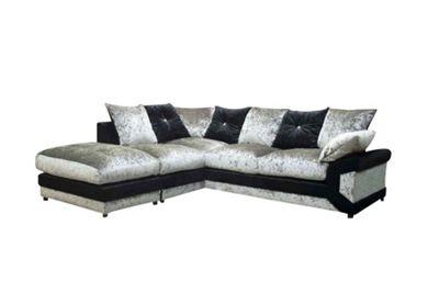 Luxor Corner Sofa Crushed Velvet Silver