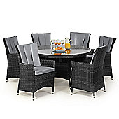 Maze Rattan - LA 6 Seat Dining Set - 1.35m Round Table - Grey