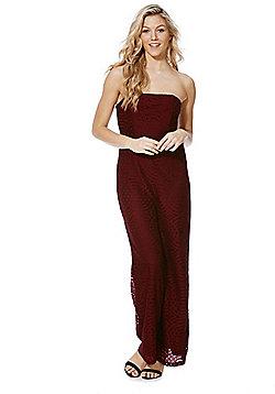 Fashion Union Lace Strapless Jumpsuit - Burgundy