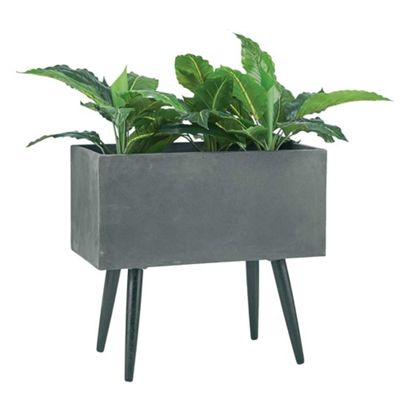 Buy Bahne Planter Fibre Clay Rectangular On Legs In Grey From Our