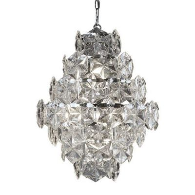 TILES 7 LIGHT CEILING PENDANT, CLEAR GLASS DETAIL TRIM, CHROME
