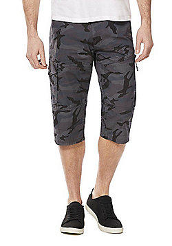 F&F Camo Print Cargo Shorts with Belt - Grey