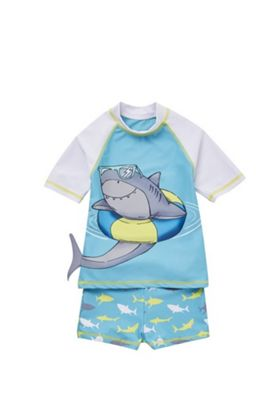 F&F Shark Print Sunsafe Rash Top and Shorts Set Turquoise 12-18 months