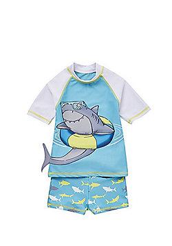 F&F Shark Print Sunsafe Rash Top and Shorts Set - Turquoise