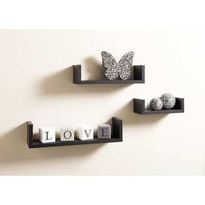 Set of 3 Black U Shape Floating Wall Mounted Shelves DVD BOOK Storage Display Shelf