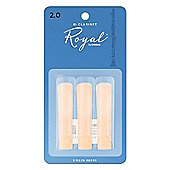 Rico Royal 2 Bb Clarinet Reeds (x3)