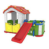 Sunshine Childrens Modular Playhouse With Play Pen & Slide (Red/Yellow)