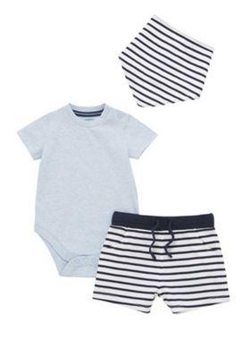 F&F Bodysuit, Striped Shorts and Dribble Bib Set Blue 9-12 months