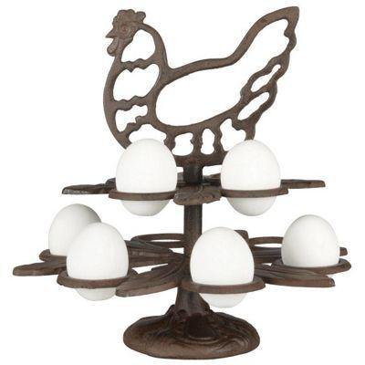 Fallen Fruits Cast Iron Hen Design Egg Holder Stand for 10 Eggs