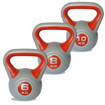 Body Power 6kg, 8kg & 10kg Vinyl Kettlebell Set
