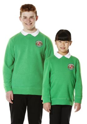Unisex Embroidered School Sweatshirt with As New Technology 10-11 years Emerald green