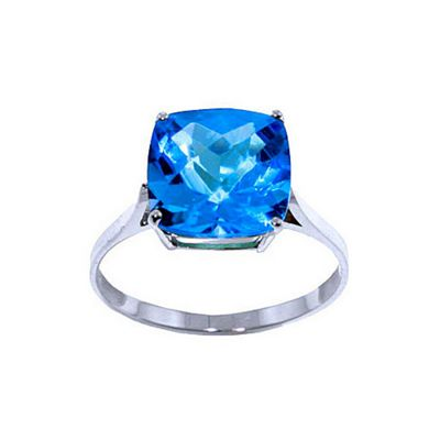 QP Jewellers 3.60ct Blue Topaz Rococo Cushion Ring in 14K White Gold - Size T 1/2