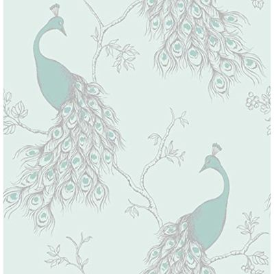 Empress Peacock Wallpaper - Duck Egg and Teal - FD40713