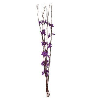 Decorative Brown Twig Lights & Purple Flowers