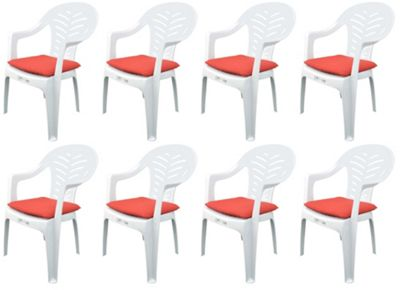 Pack of 8 Garden Chair Cushions - Fits Resol Palma / Cool - Red