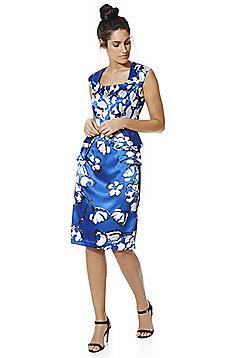 Roman Originals Floral Print Peplum Dress - Cobalt blue