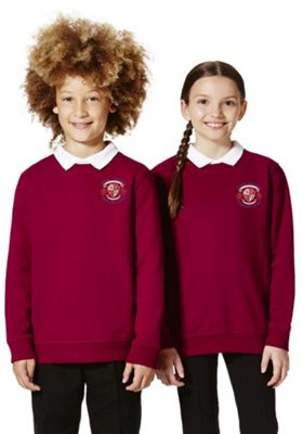 Unisex Embroidered Cotton Blend School Sweatshirt with As New Technology 10-11 years Claret